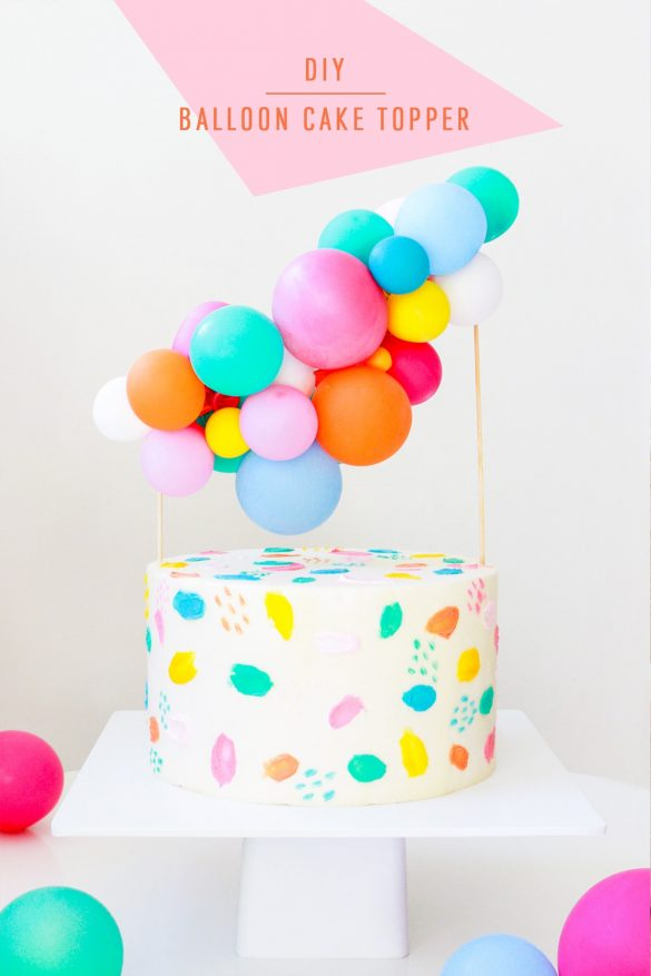 DIY Balloon Garland Cake Topper + Tips for Painting Frosting