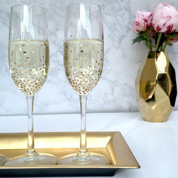 DIY Gold Dot Champagne Flutes - Lulus.com Fashion Blog