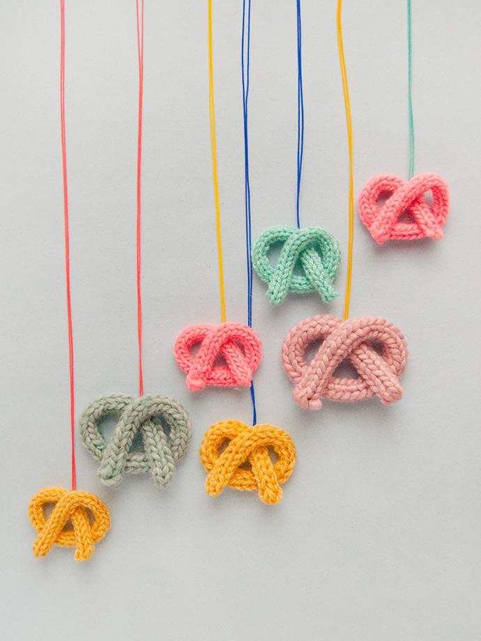 French knit pretzel necklace