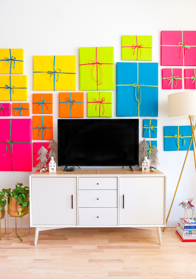 gift wrapped gallery wall