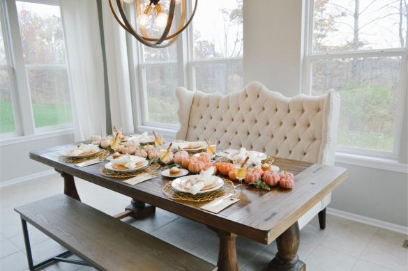Ombre Pumpkin Fall Tablescape and Thanksgiving Entertaining Tips