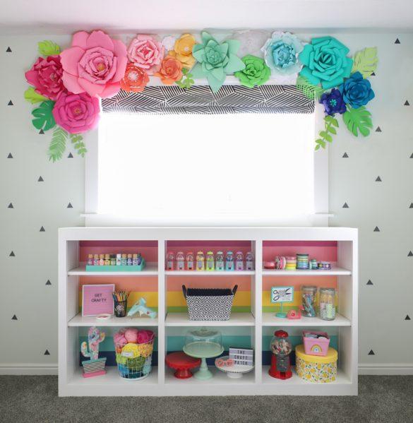 Rainbow Painted Bookcase