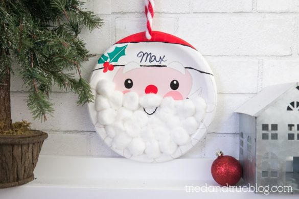 Christmas Countdown for kids made with santa plate and cotton balls.