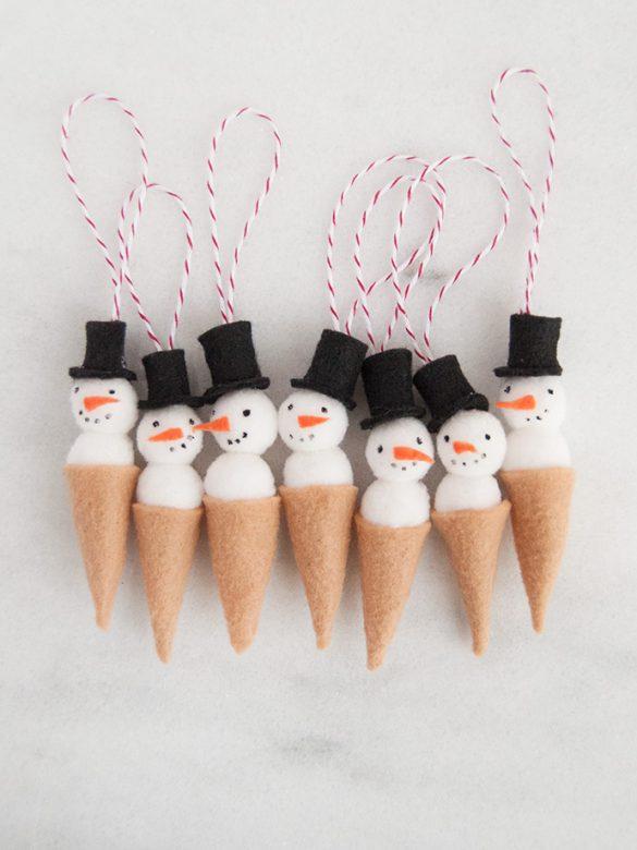 Snowman Ice Cream Cone Ornaments