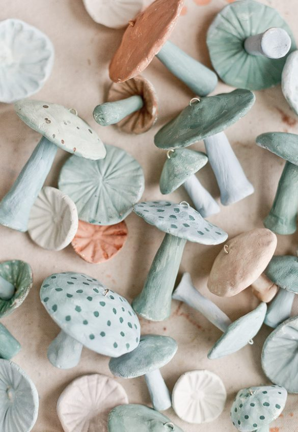 Unique Christmas Ornaments: How to Make Clay Mushrooms
