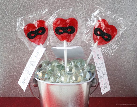 Valentine Superhero Lollipops