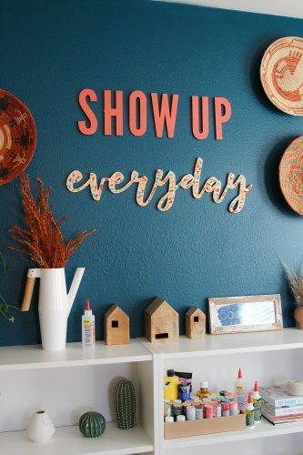 DIY Terrazzo Baltic Birch Wood Letter Sign & Office Room Update