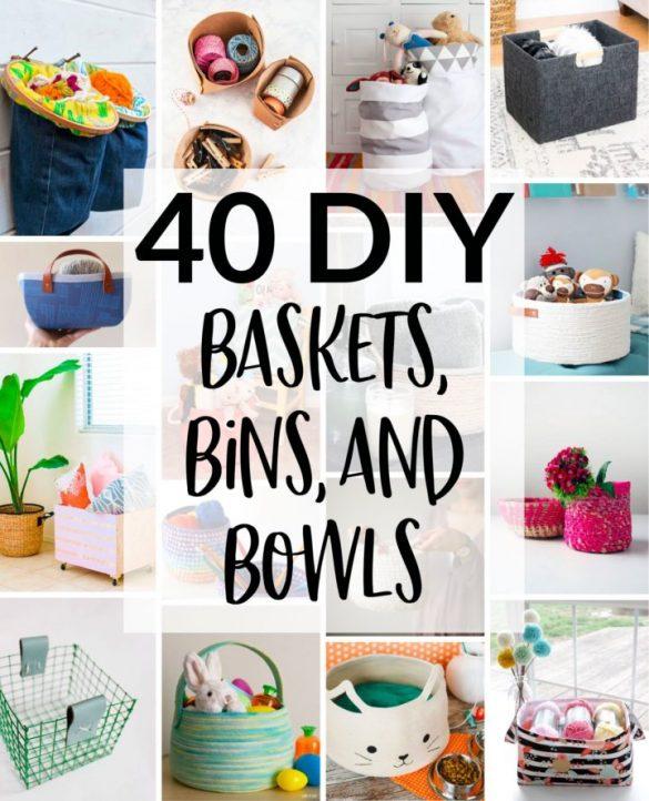 40 DIY Baskets, Bins, & Bowls