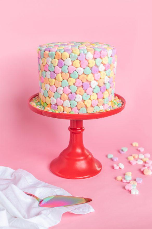 Valentine's Day Cake Idea // Conversation Heart Cake