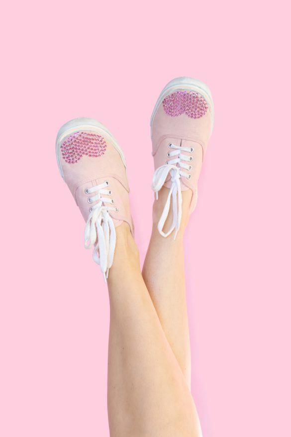 DIY Rhinestone Valentine's Day Shoes