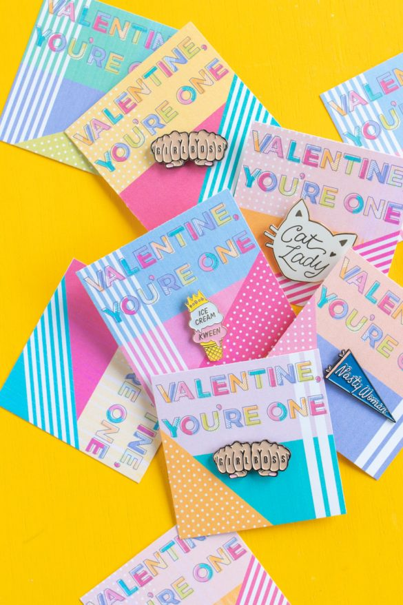 Printable Pin Cards for Galentine's Day
