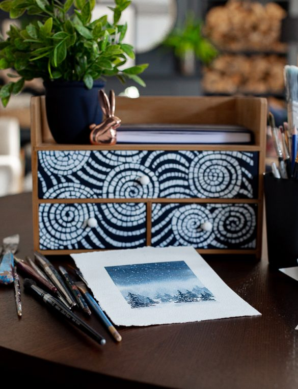 Mini desk storage/organizer makeover
