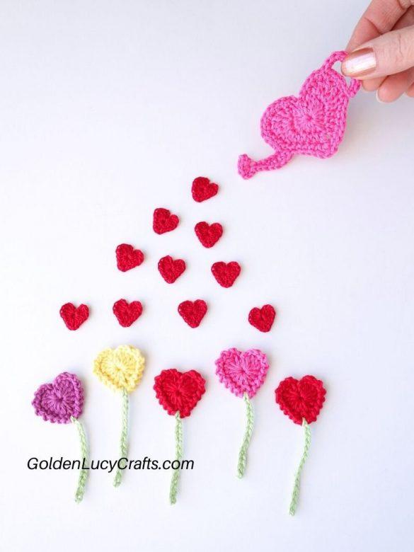 Crochet Heart Flowers Garden Valentine's Day Applique