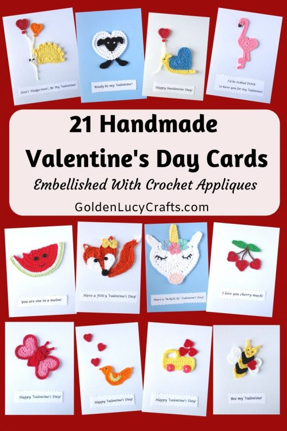 21 DIY Valentine's Day Cards Embellished with Crochet Appliques