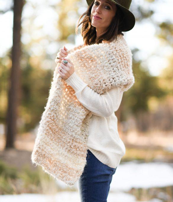 Juno Boucle Beginner Crochet Wrap Free Pattern