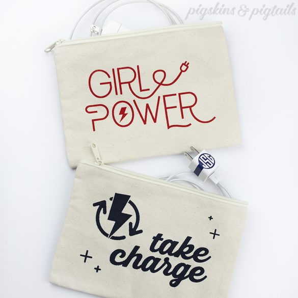 How to Screen Print on Canvas Bags // iPhone and iPad Charger Organization