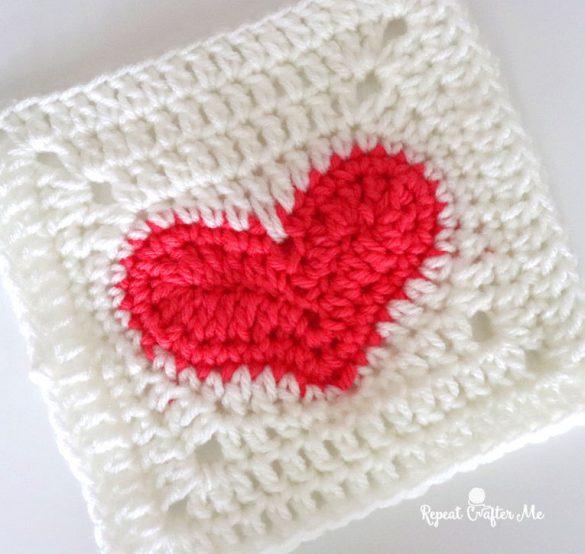 Crochet Heart Granny Square