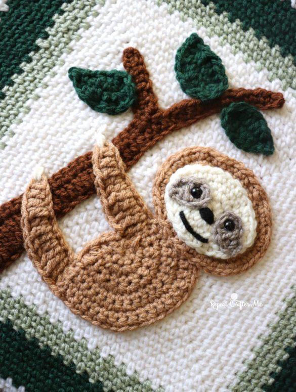 Crochet Sloth Applique