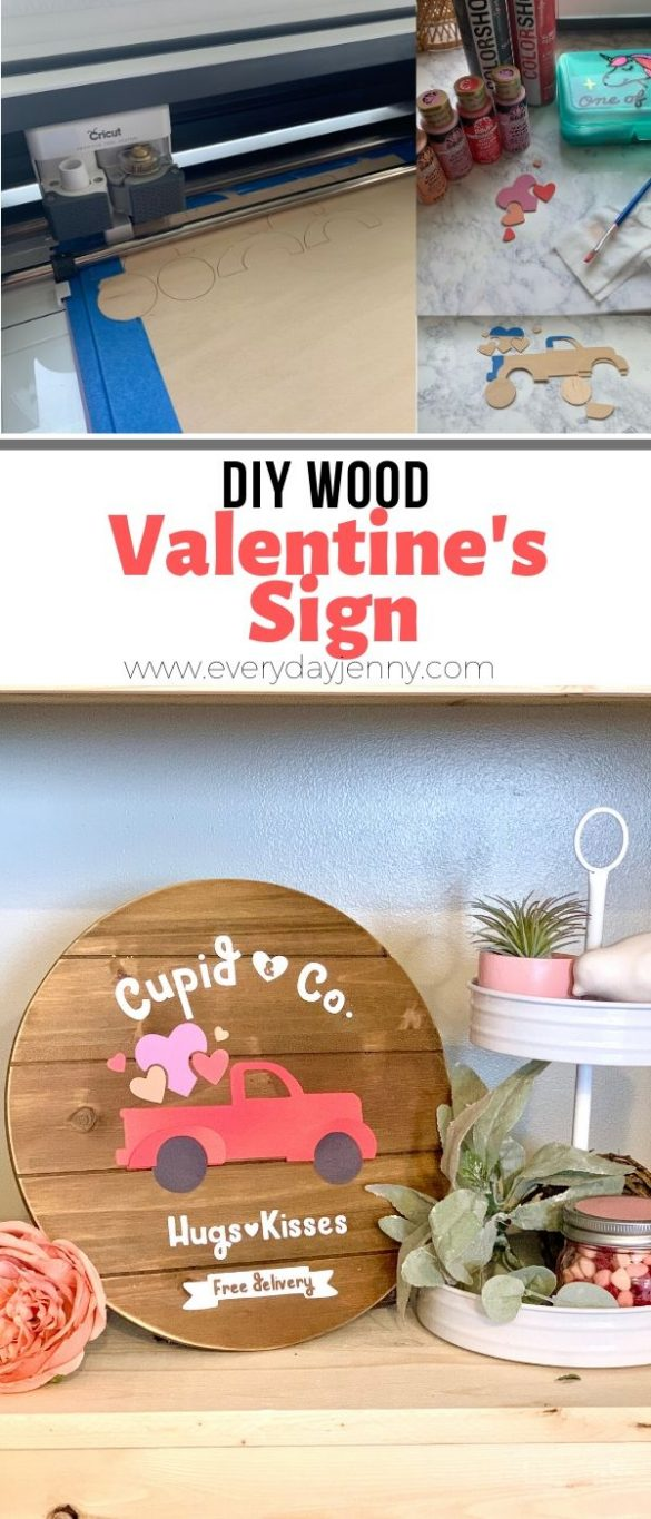 DIY VALENTINE'S WOOD SIGN WITH THE CRICUT KNIFE BLADE