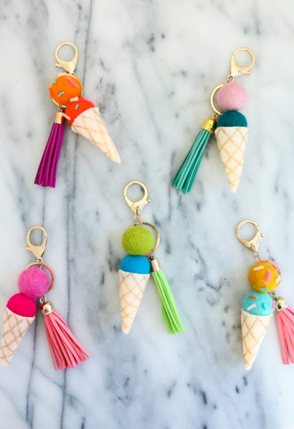 DIY Felt Ball Ice Cream Cone Keychains