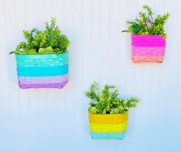 DIY Hanging Rainbow Baskets