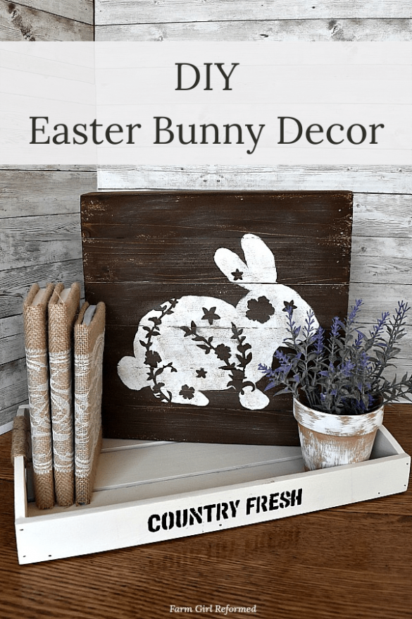 DIY Painted Easter Bunny Decor