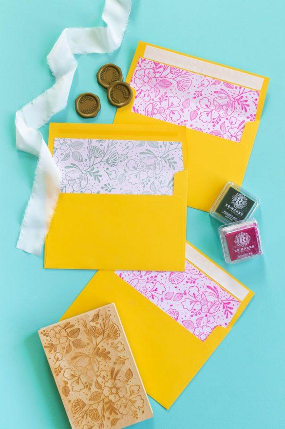DIY Floral Stamped Envelope Liners