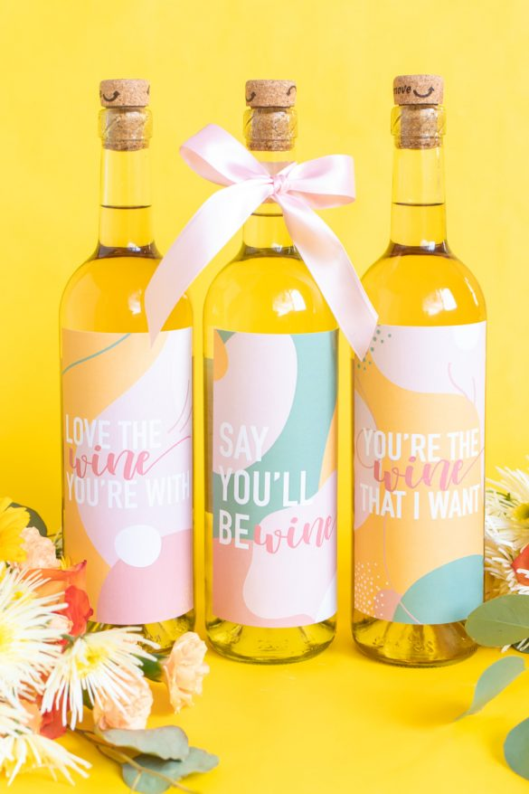 Printable Wine Labels // Easy Galentine's Day Gifts