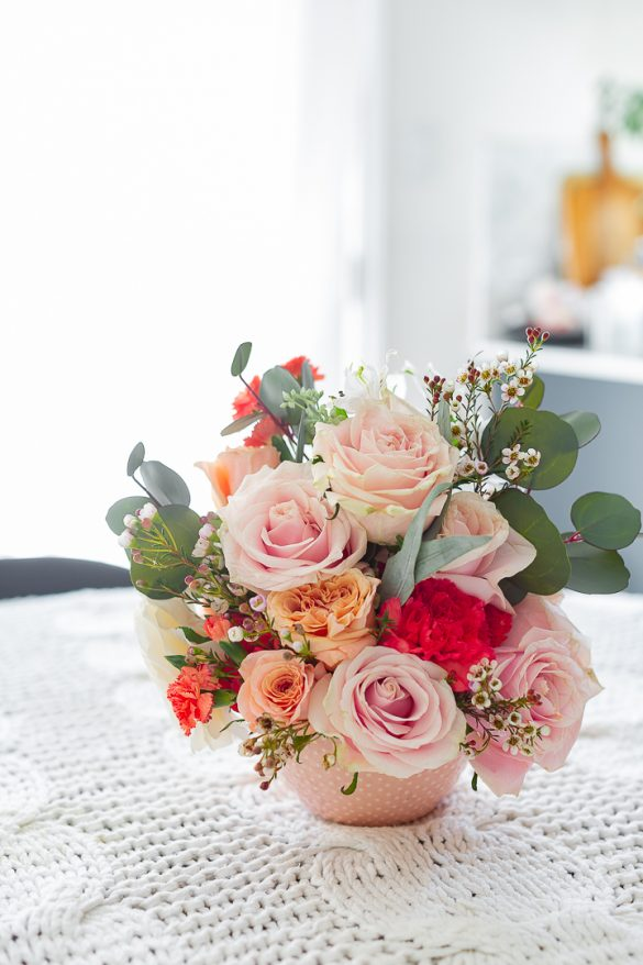 Spring arrangement using grocery store roses