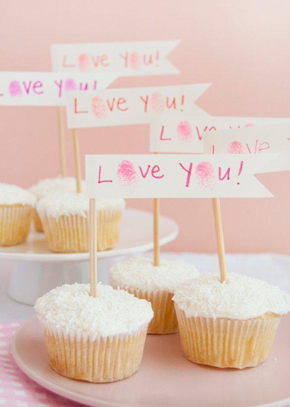 Valentine's Day Fingerprint Art Cupcakes