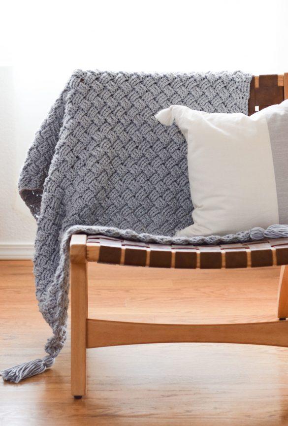 Diagonal Diamonds Woven Throw Crochet Pattern