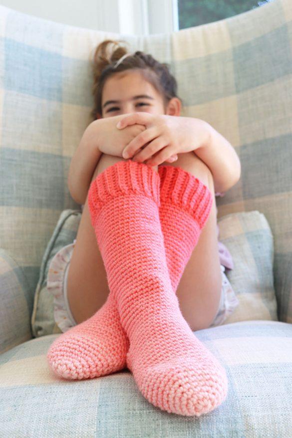 Red Heart Kids Crochet Slipper Socks