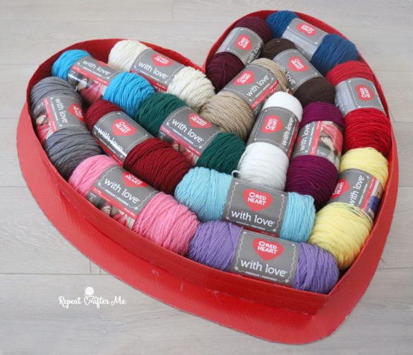 Jumbo Heart Box Filled with Yarn
