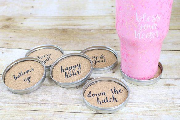 How to Make Mason Jar Lid Coasters