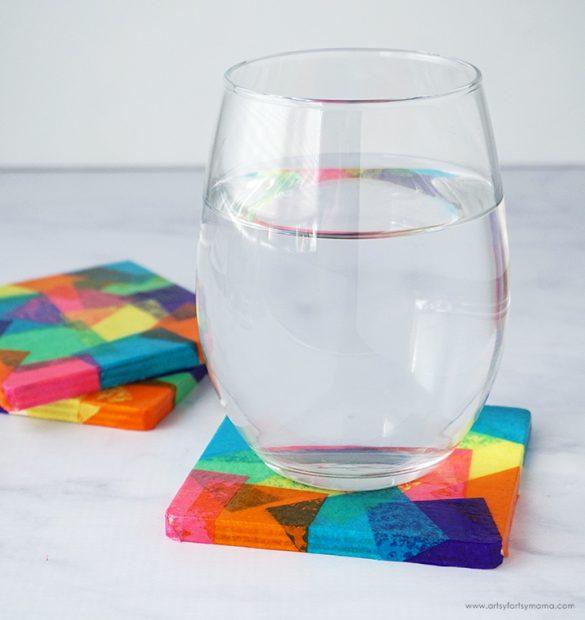 DIY Tissue Paper Coasters