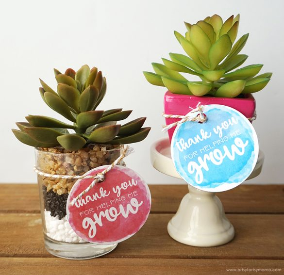 """Thank You For Helping Me Grow"" Teacher Gift Idea"