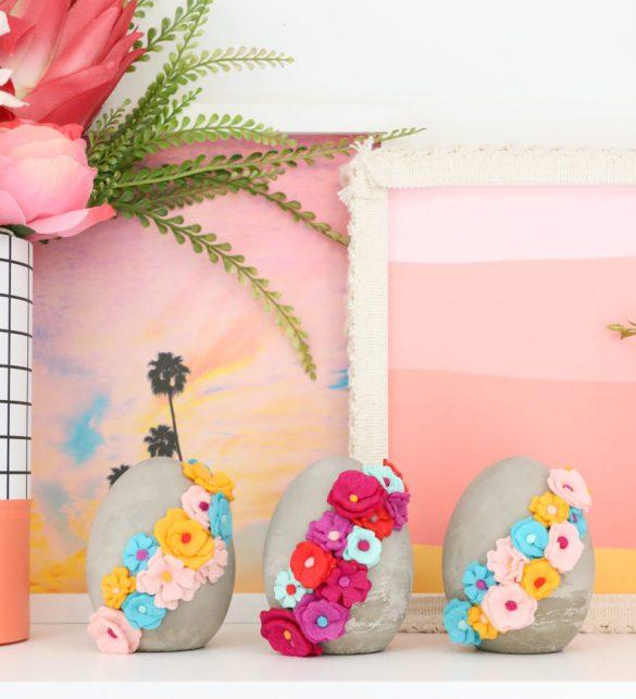 DIY Felt Flower Covered Easter Eggs