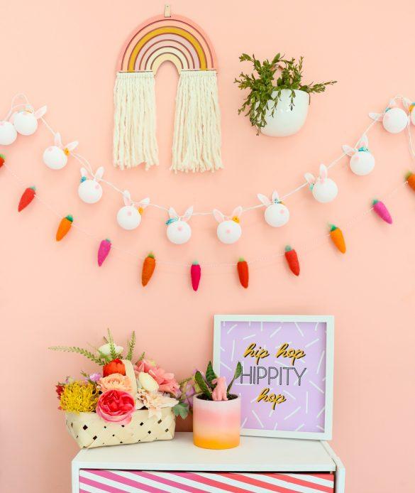 DIY Flower Crown Bunny String Light Garland