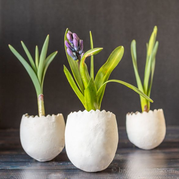 DIY Easter Egg Planters with Clay, Live and Faux Flowers