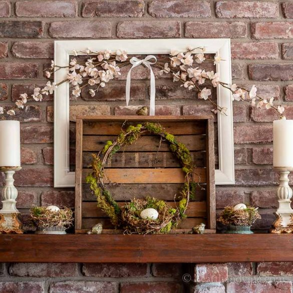 Spring Mantel Ideas with Natural Bird Nests, Moss and More