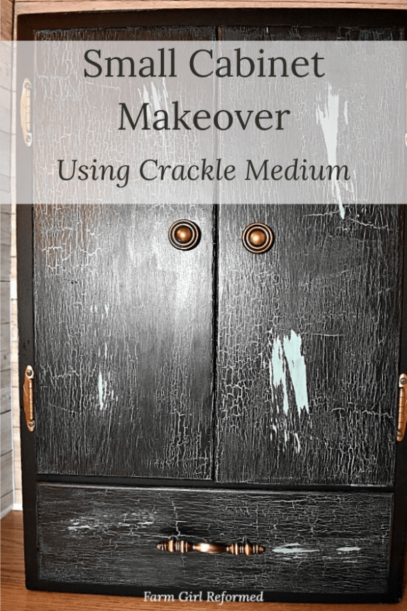 Small Cabinet Makeover with Crackle Medium