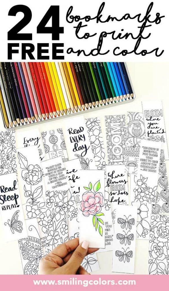 24 FREE Bookmarks to Print and Color to celebrate National Reading Day!