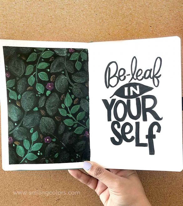 Easy Leaf Inspirational Quote for your journal