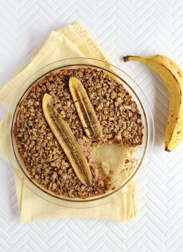 Overnight Baked Banana Bread Oatmeal