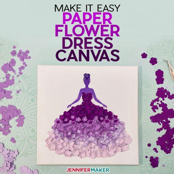 Paper Flower Dress Canvas Wall Art