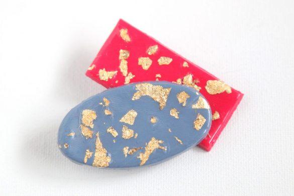 How to Make DIY Gold Fleck Barrettes