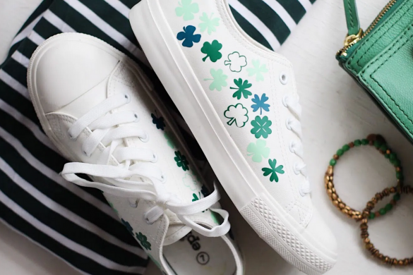 St Patrick's Day Craft: DIY Shamrock Shoes with Heat Transfer Vinyl
