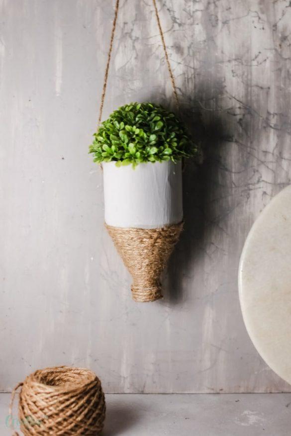 DIY hanging plastic bottle planter
