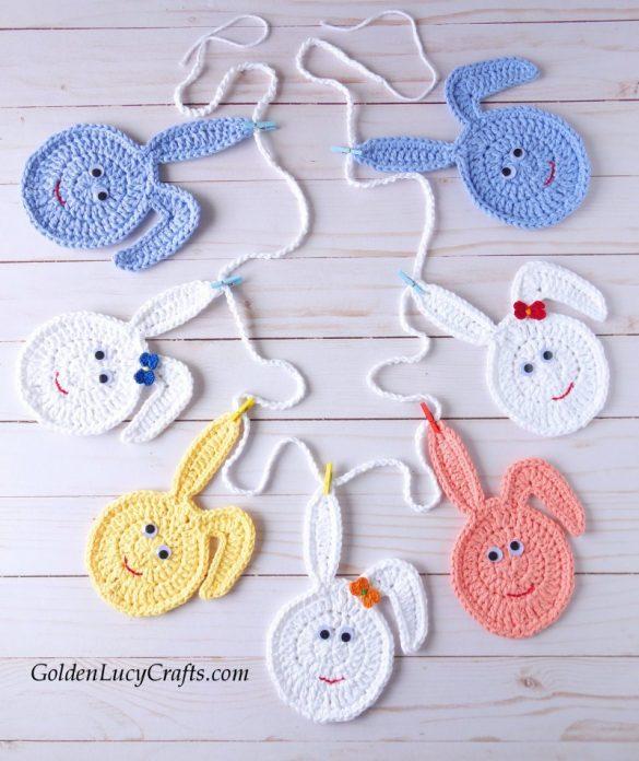 Crochet Easter Bunny Egg Garland