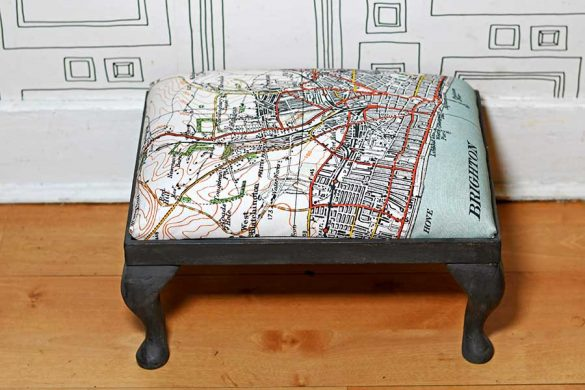 How To Reupholster A Footstool With A Tea Towel
